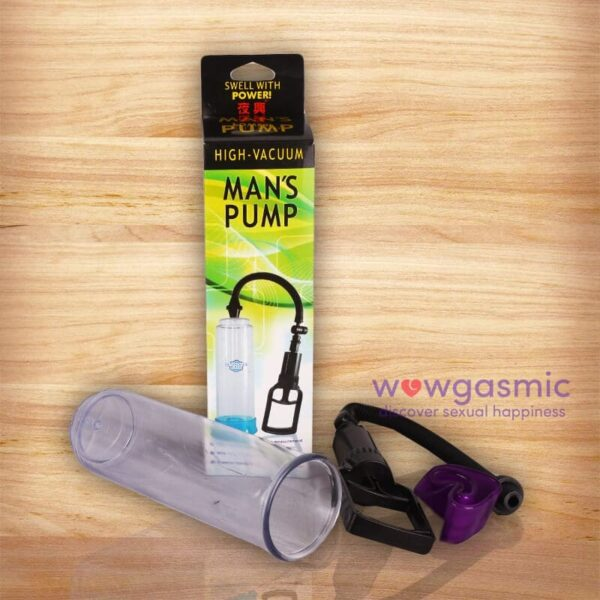 Side view Photo of Penis Enlarger & Erection Pump next to its packaging box - wowgasmic sex toys in Kenya for Sale