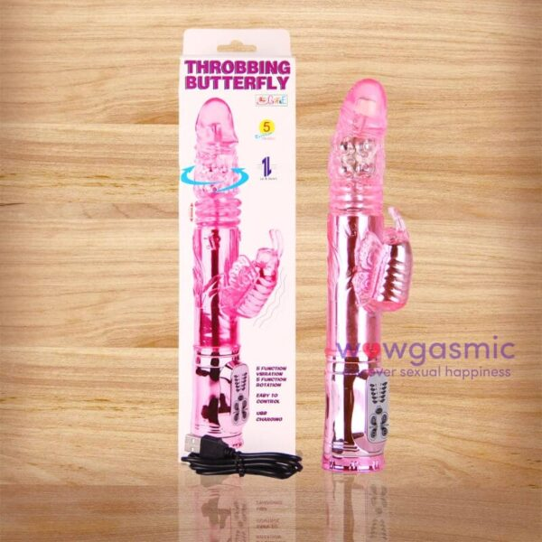Photo of a pink Throbbing Butterfly Multi Speed Vibrator with Up and Down Jerking Motion and Rotating Tip next to its packaging box and USB charger - wowgasmic sex toys in Kenya for Sale