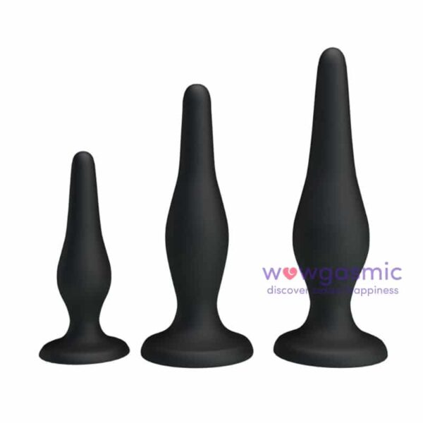 a photo showing the three butt plugs in the silicone anal kit for beginners (3 piece kit) - wowgasmic sex toys in Kenya for sale