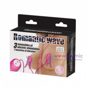 Photo showing the packaging box of the Romantic Wave Electro Shock Vibrating Nipple Clamps